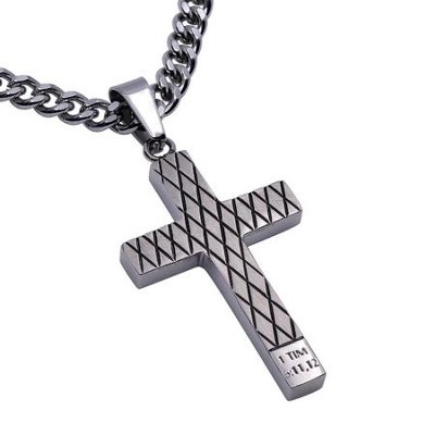 Man of God Diamond Back Cross Necklace, Silver  -