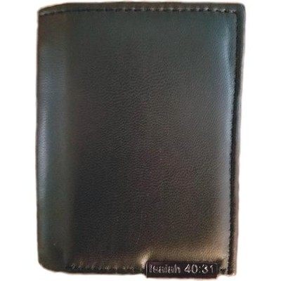 Men's Leather Wallet,Tri-Fold, Black  -