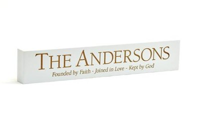 Personalized, White Desk Plaque, Long, Founded   -