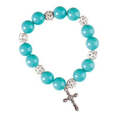 My Special Godmother Bracelet, with Cross, Turquoise  -