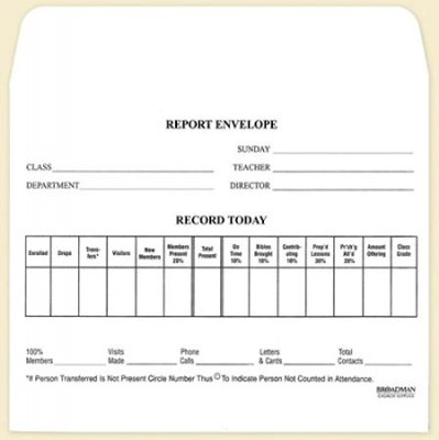 Report Envelope for Class, Form 45L (pkg. of 100)  -