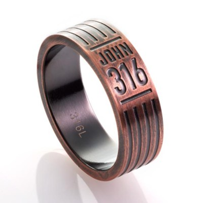 John 3:16, Men's Stainless Steel Ring with Copper Finish, Size 10  -