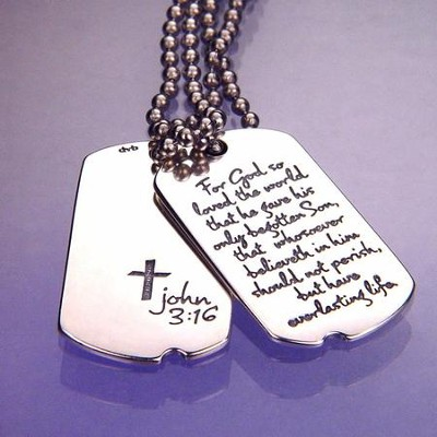 John 3:16 Sterling Silver Dog Tag Pendant   -