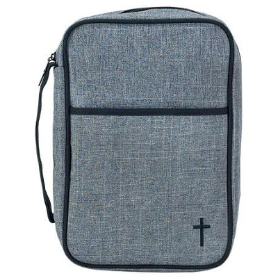 Cross Bible Cover, Large Gray   -