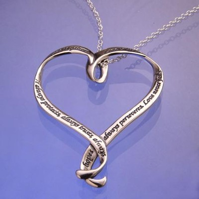 Love Is, Sterling Silver Ribbon Heart Necklace   -
