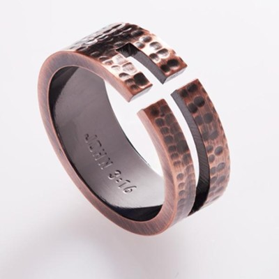 Cutout Cross, Men's Stainless Steel Ring with Copper Finish, Size 12  -