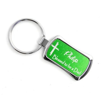 Personalized, Green Keyring, Blessed Dad   -