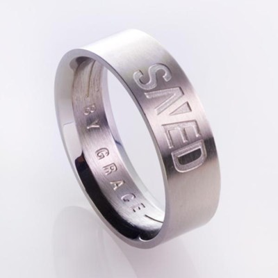 Saved By Grace, Men's Stainless Steel Ring, Size 10  -