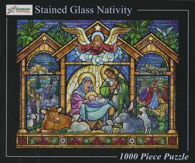 Stained Glass Nativity 1000 Piece Jigsaw Puzzle     -