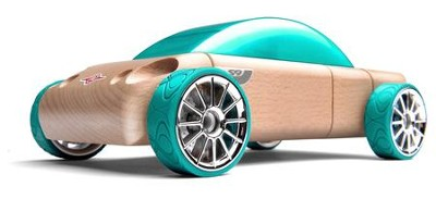 S9 Beech Wood Sedan Kit with Teal Tires  -