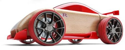 C9-R Beech Wood Sportscar Kit with Red Tires  -