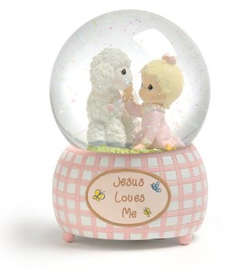 Jesus Loves Me, Girl, Musical Water Globe  -