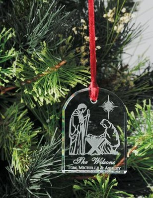 Personalized Crystal Nativity Ornament   -