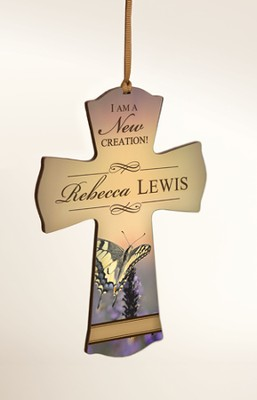 Personalized, Cross Ornament, Butterfly  -