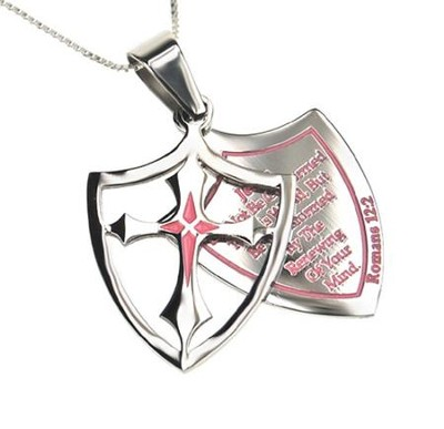 Transformed, Shield Cross Necklace, Pink   -