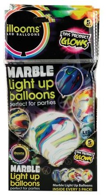 Illoom Light Up Balloons, Marble Swirls, Pack of 5  -