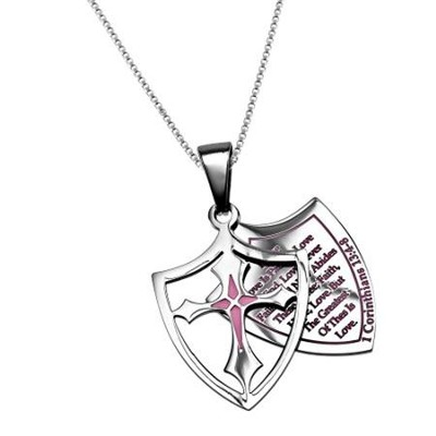Love, Shield Cross Necklace, Pink   -