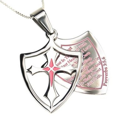 Trust, Shield Cross Necklace, Pink   -