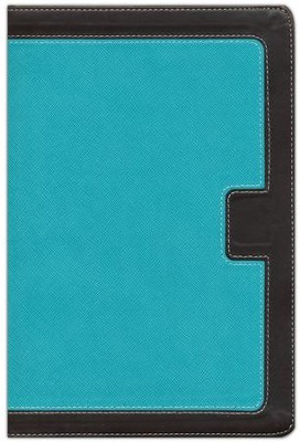NKJV Giant Print Center-Column Reference Bible, Imitation Leather, Turquoise/Expresso  -