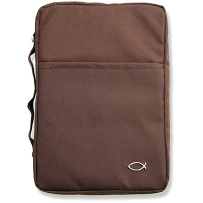 Classic Canvas Bible Cover, Brown, Large  -