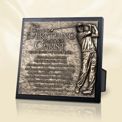 Moments of Faith Sculpture Plaque, Everything Through Christ, Golfer  -