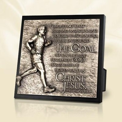 Moments of Faith Sculpture Plaque, The Goal to Win the Prize, Runner  -