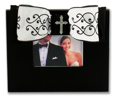 Frame- Black and White Scroll w/ Cross Bling  -
