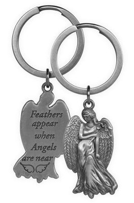 Feathers Appear When Angels Are Near, Angel Keyring  -