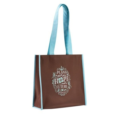 Plans to Give You Hope and a Future Tote Bag, Brown and Teal  -