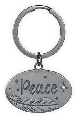 Peace, Feather Keyring  -