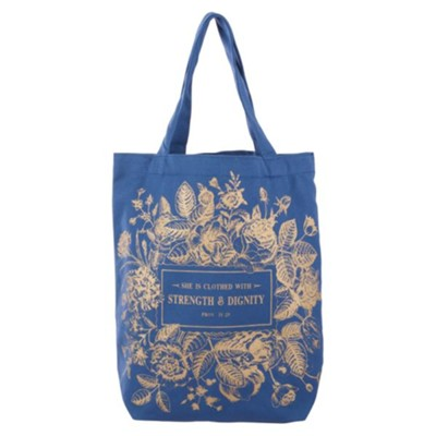 She is Clothed With Strength & Dignity Tote Bag, Blue  -