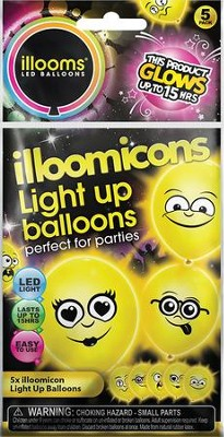 illoom illoomicons Balloons with Various Faces, Pack of 5   -