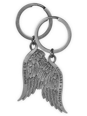 Courage and Strength, Feather Keyring  -