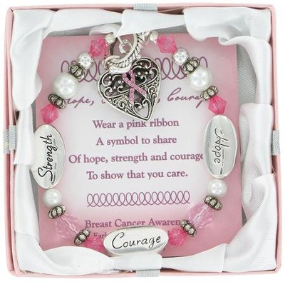 Breast Cancer Awareness, Hope, Courage, Strength Bracelet  -