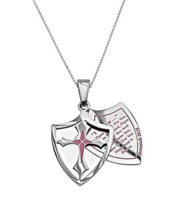 I Know, Shield Cross Necklace, Pink   -