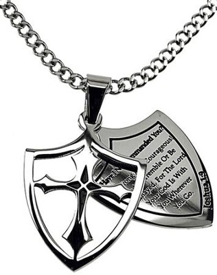 Courage Shield Cross Necklace  -