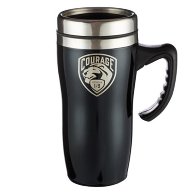 Courage, Stainless Steel Travel Mug, Black  -