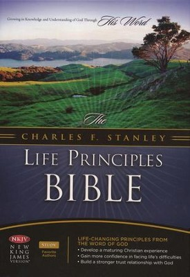 NKJV Charles Stanley Life Principles Bible, Bonded leather, burgundy - Imperfectly Imprinted Bibles  -
