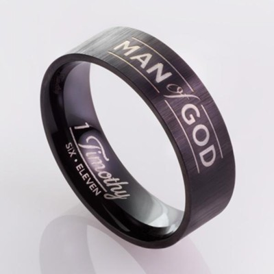 Man of God, Men's Stainless Steel Ring, Black, Size 9  -