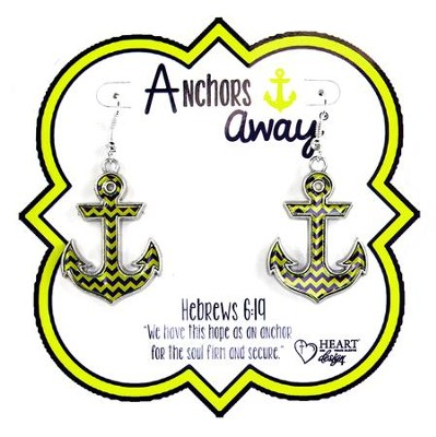 Anchor Earrings, Blue and Yellow  -