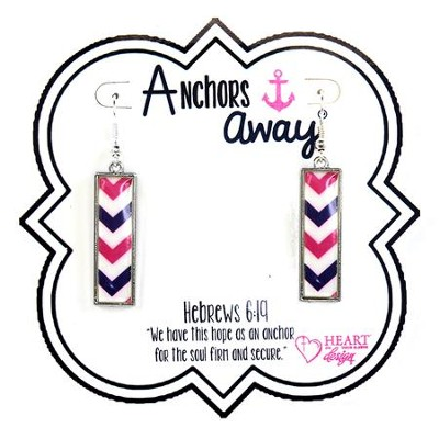 Nautical Rectangle Earrings, Blue, White, and Pink  -