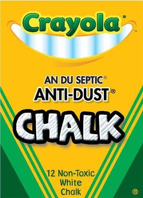 Crayola,. Anti-Dust Chalk, White, 12 Pieces  -