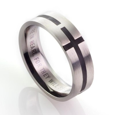 Men's Stainless Steel Ring with Black Cross, Size 10  -