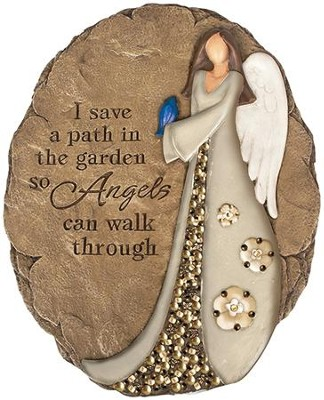 I Save A Path In the Garden So Angels Can Walk, Beaded Stepping Stone  -
