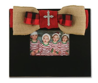 Red Burlap Bow with Cross Bling, Frame, Black  -