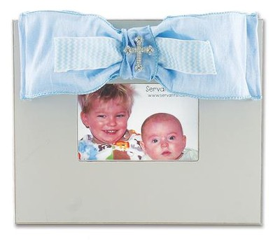 Bow Photo Frame with Bling, Blue  -