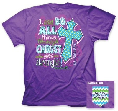 I Can Do All Things Shirt, Purple, Small  -