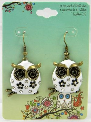 Owl Earrings, Colossians 3:16, White  -