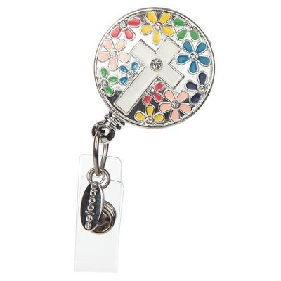 ID Badge Reel- Multicolor With Cross  -