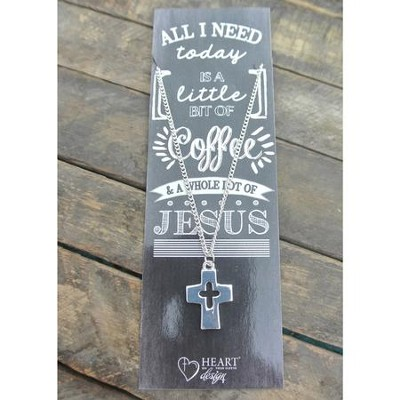 Silver Cross/Cross Cut Out Necklace with Coffee and Jesus Bookmark  -